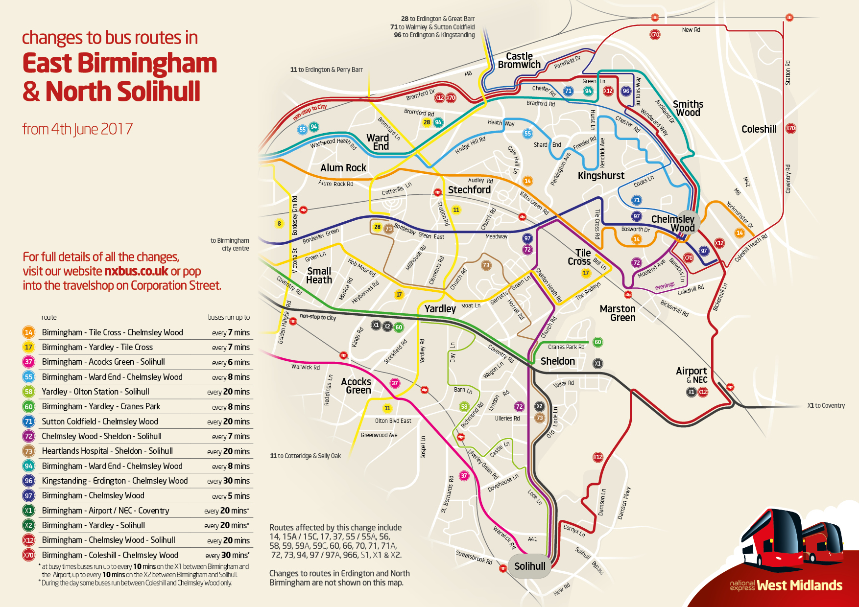 East Birmingham Amp Solihull Service Changes From Sunday 4th