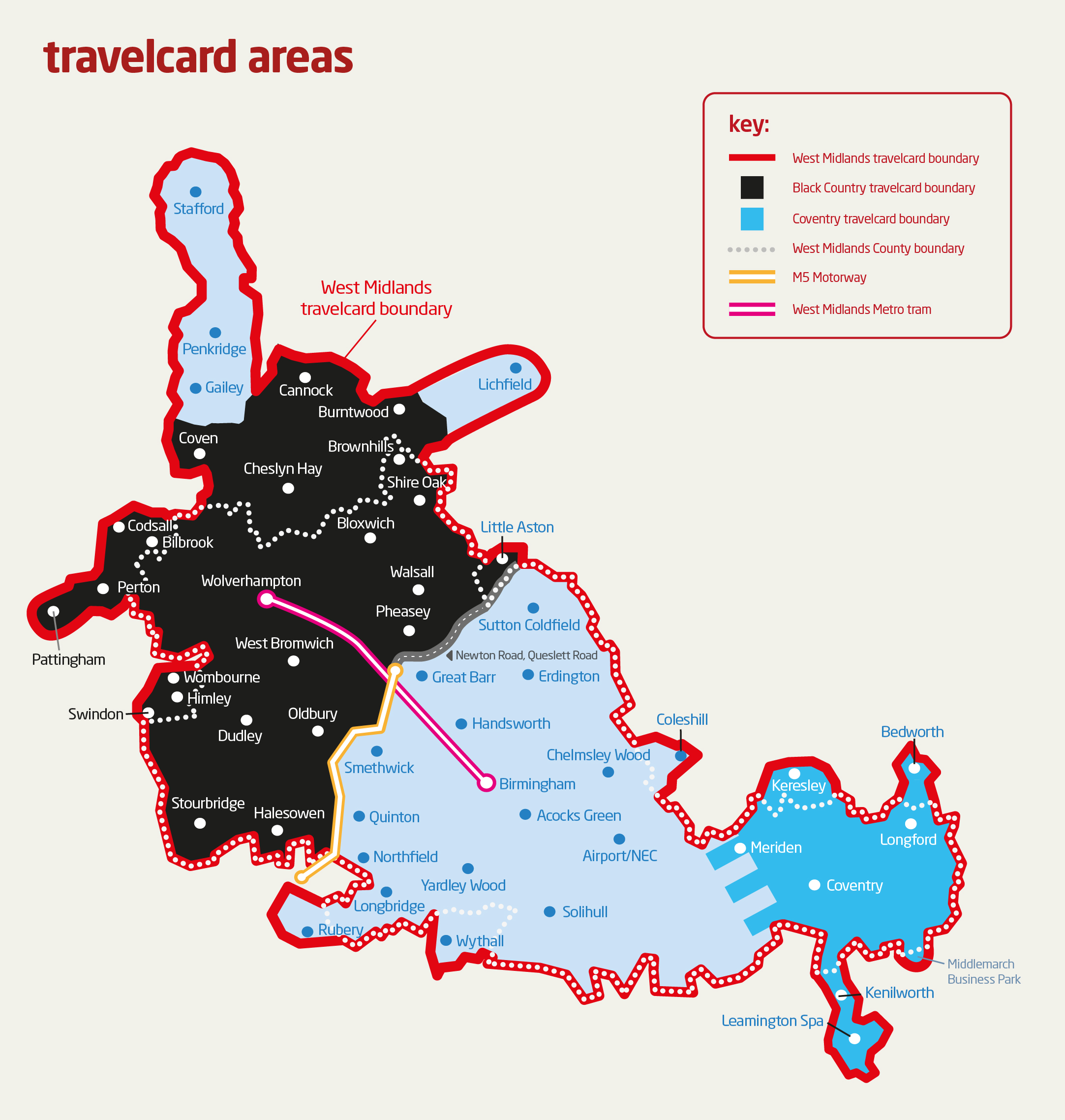 Travelcard Operating Area   National Express West Midlands