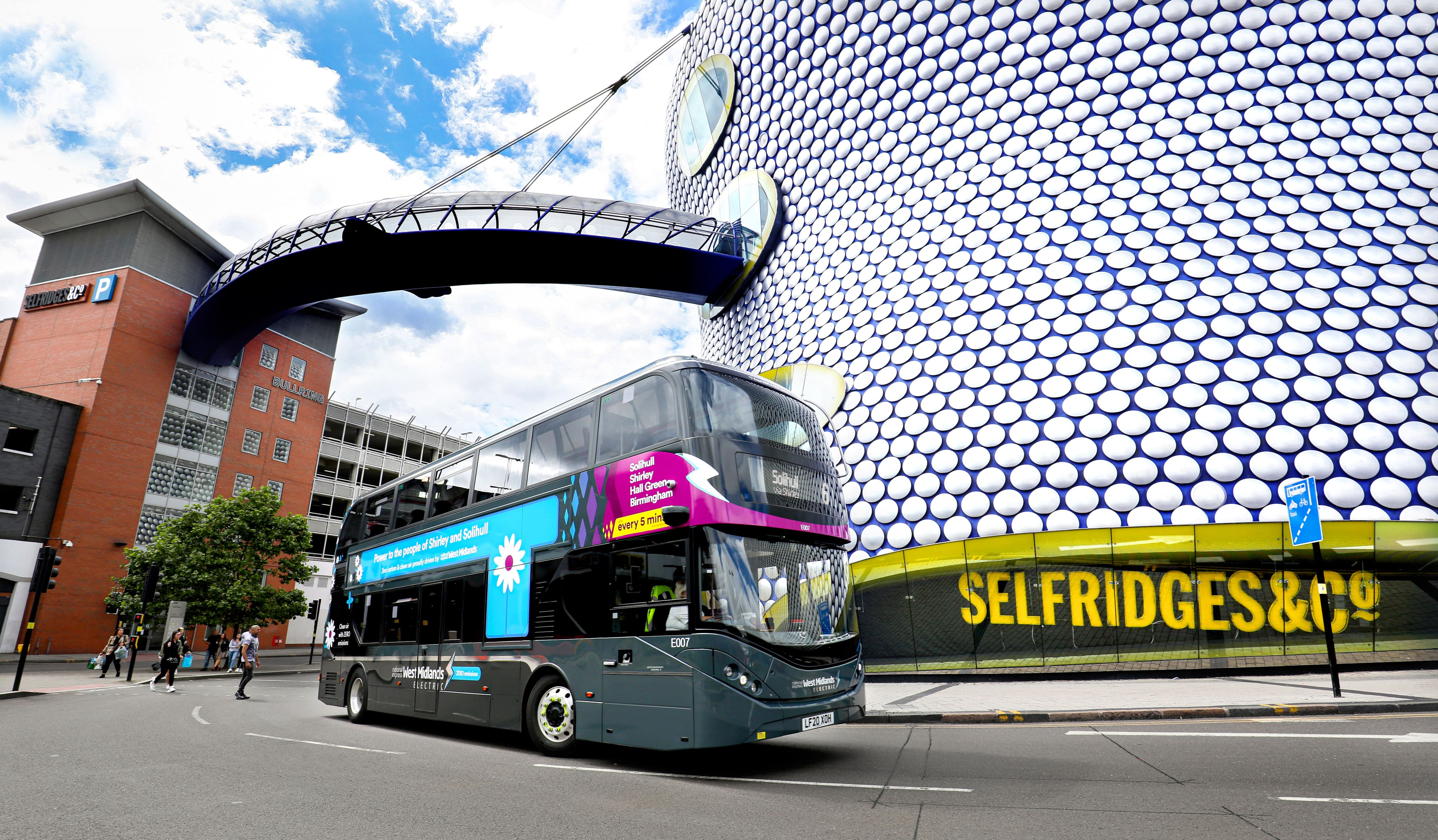 Electric bus outside Selfridges, Birmingham