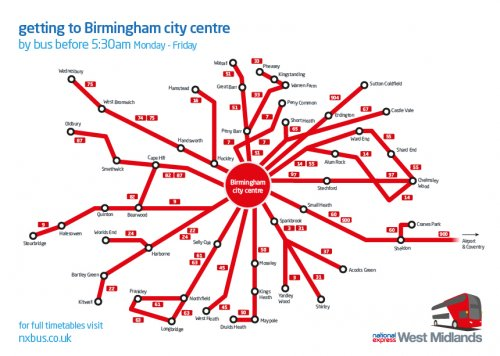 Early buses to Birmingham city centre