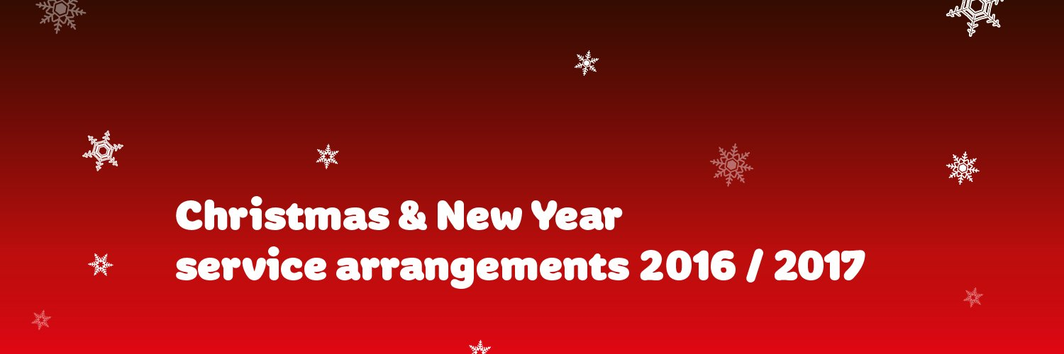 Christmas and New year Service Arrangements 2016 / 2017