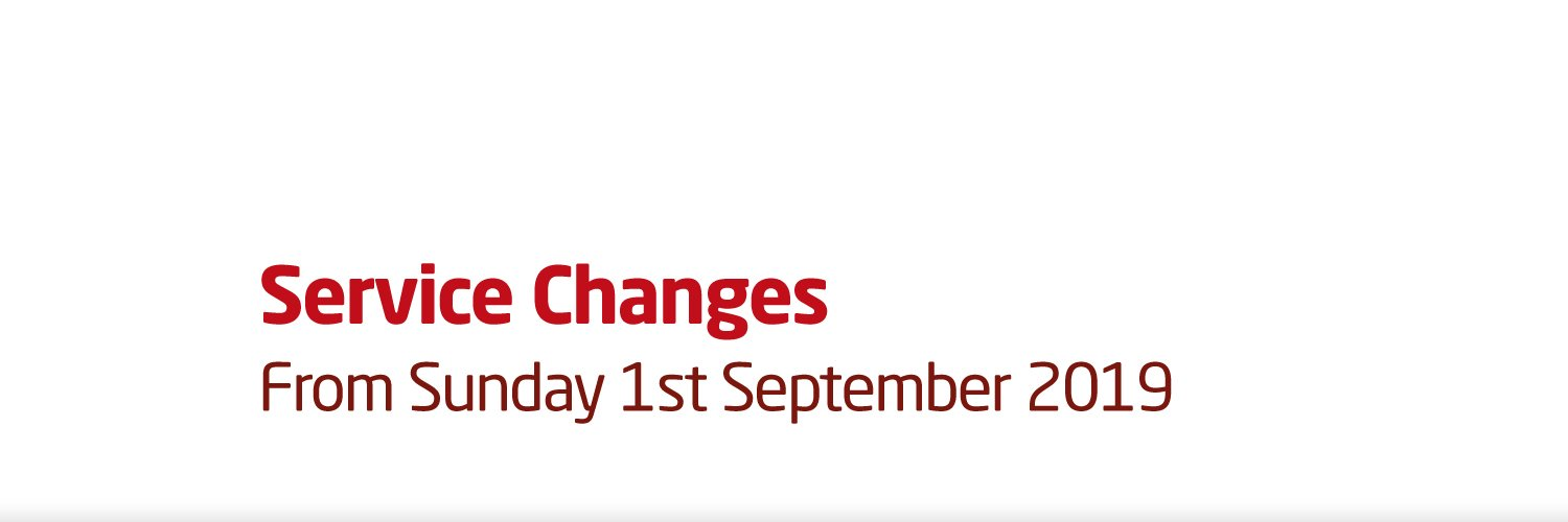 Service changes from Sunday 1st September 2019