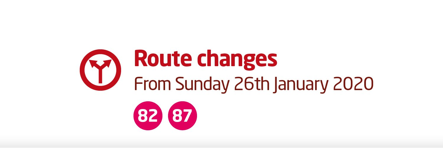 82 & 87 route change from 26th January 2020