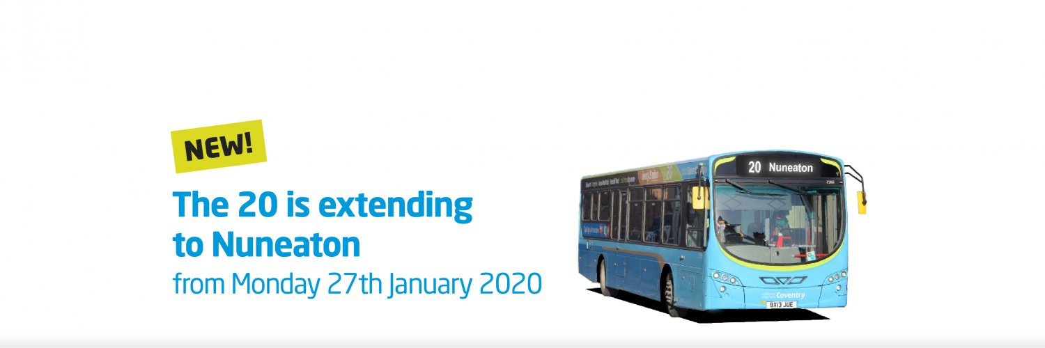 NEW 20 route extension to Nuneaton from 27th January 2020