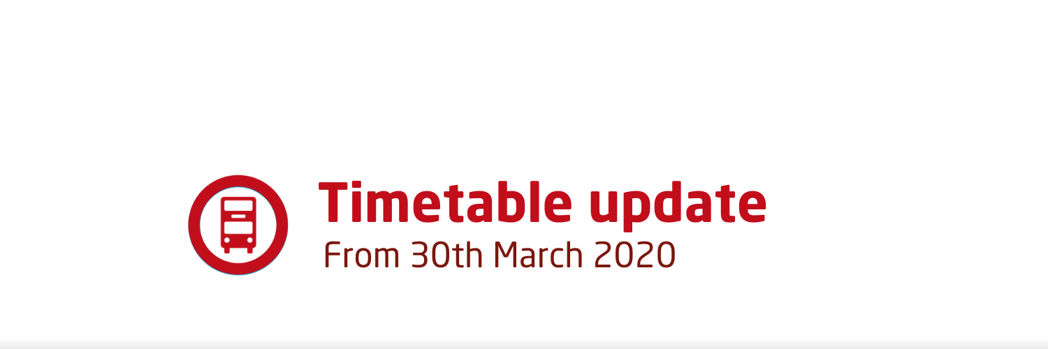 Coronavirus timetable update - from 30th March 2020