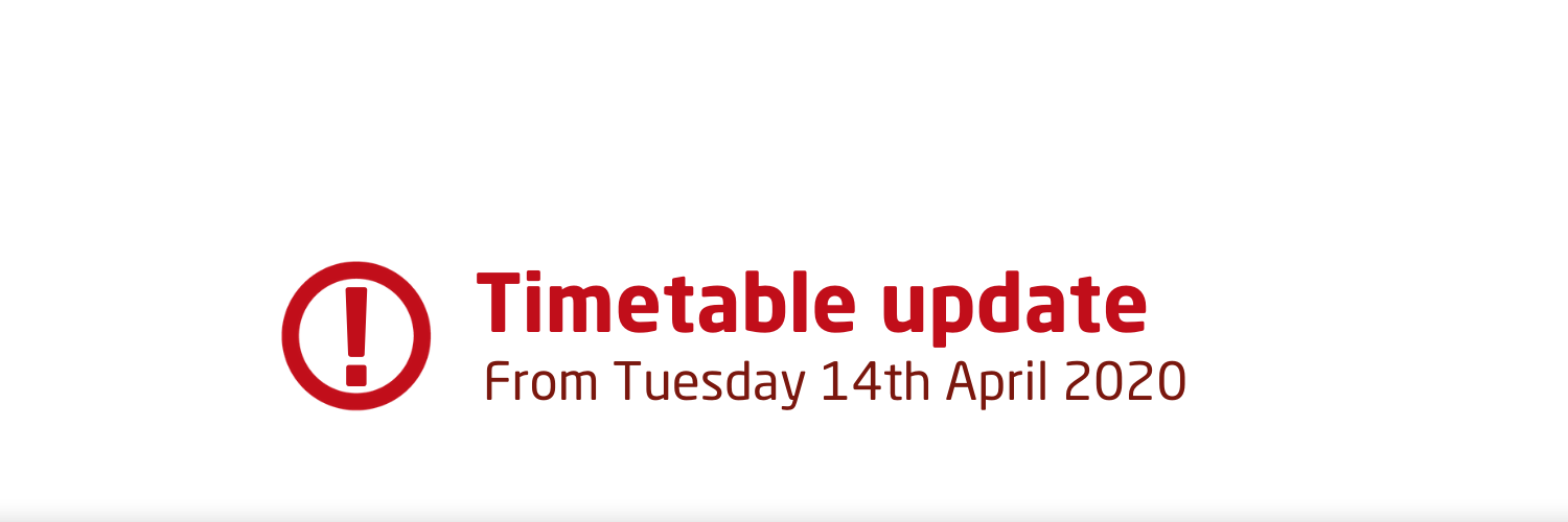 Coronavirus timetable update from 14th April 2020