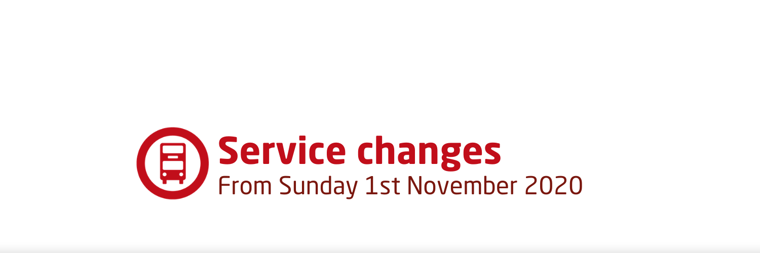 Service changes from Sunday 1st November 2020