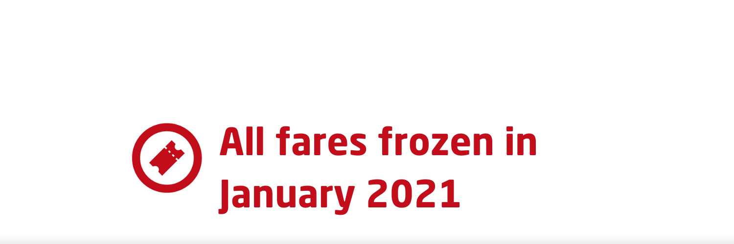 All fares frozen in January 2021